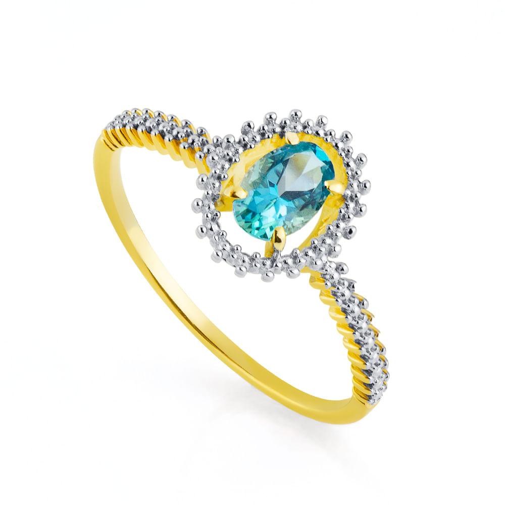 Anel em Ouro 18k Pedra Topázio Azul Oval an32694 - joiasgold 3e2e142136