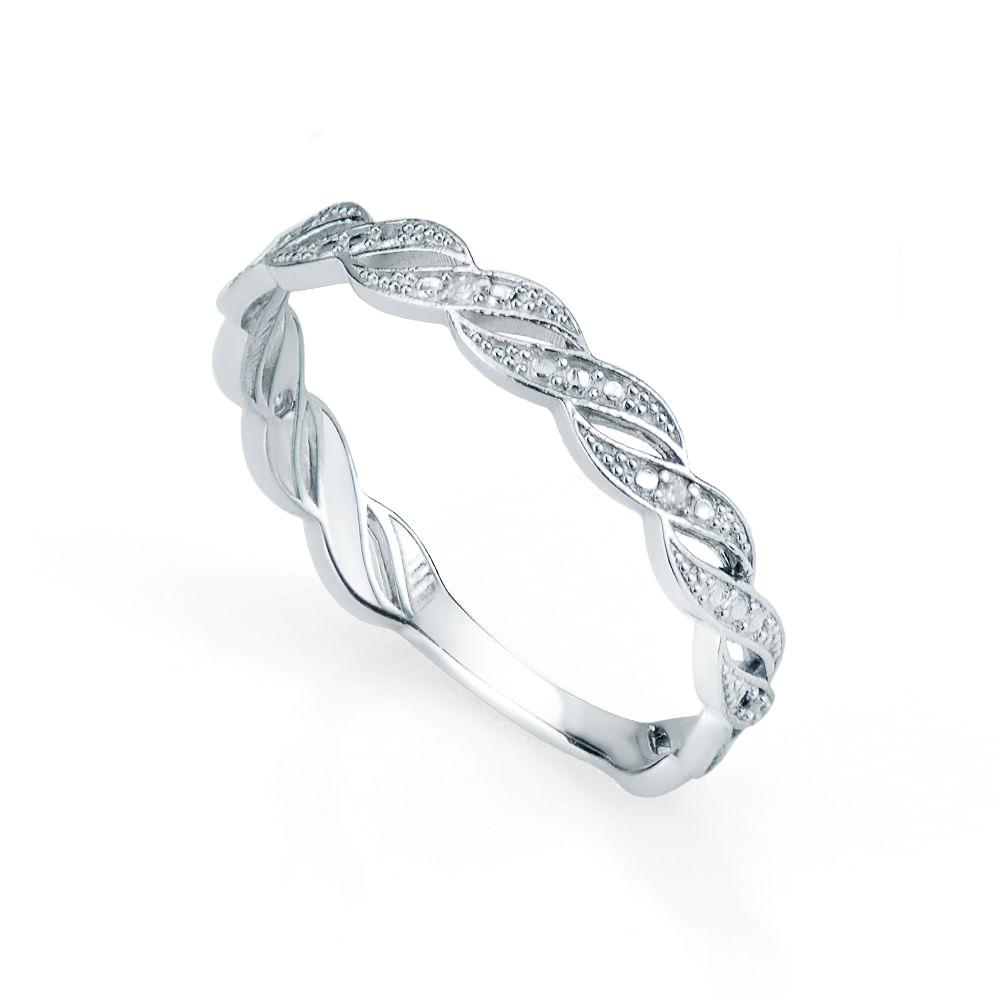 da2efdf0f5504 Anel em Ouro Branco 18k Entrelaçado com Diamantes an32471 - joiasgold