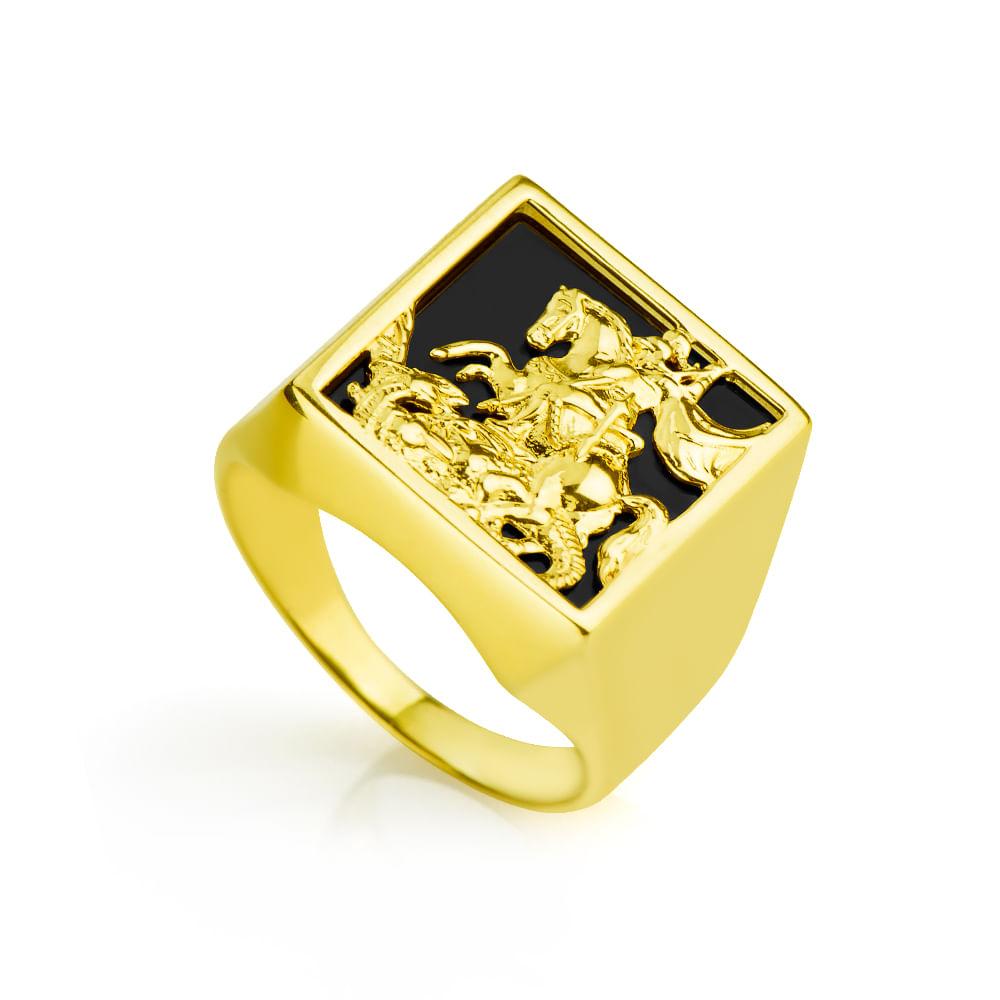 2499e67053f7d Anel em Ouro 18k São Jorge com Pedra Onix an31975 - joiasgold