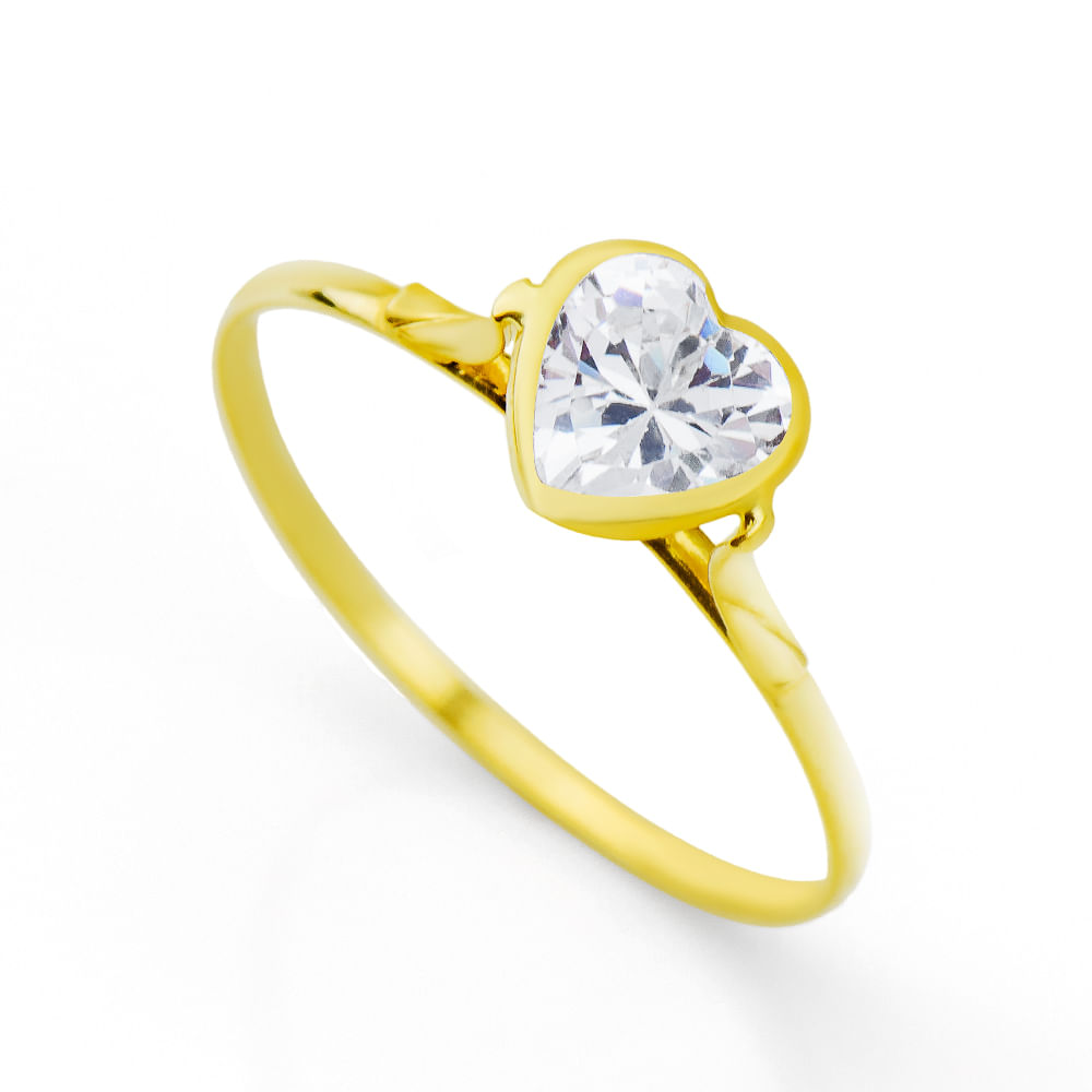 Anel em Ouro 18k Coração com Zircônia 6,0mm an32711 - joiasgold 03a7837bac