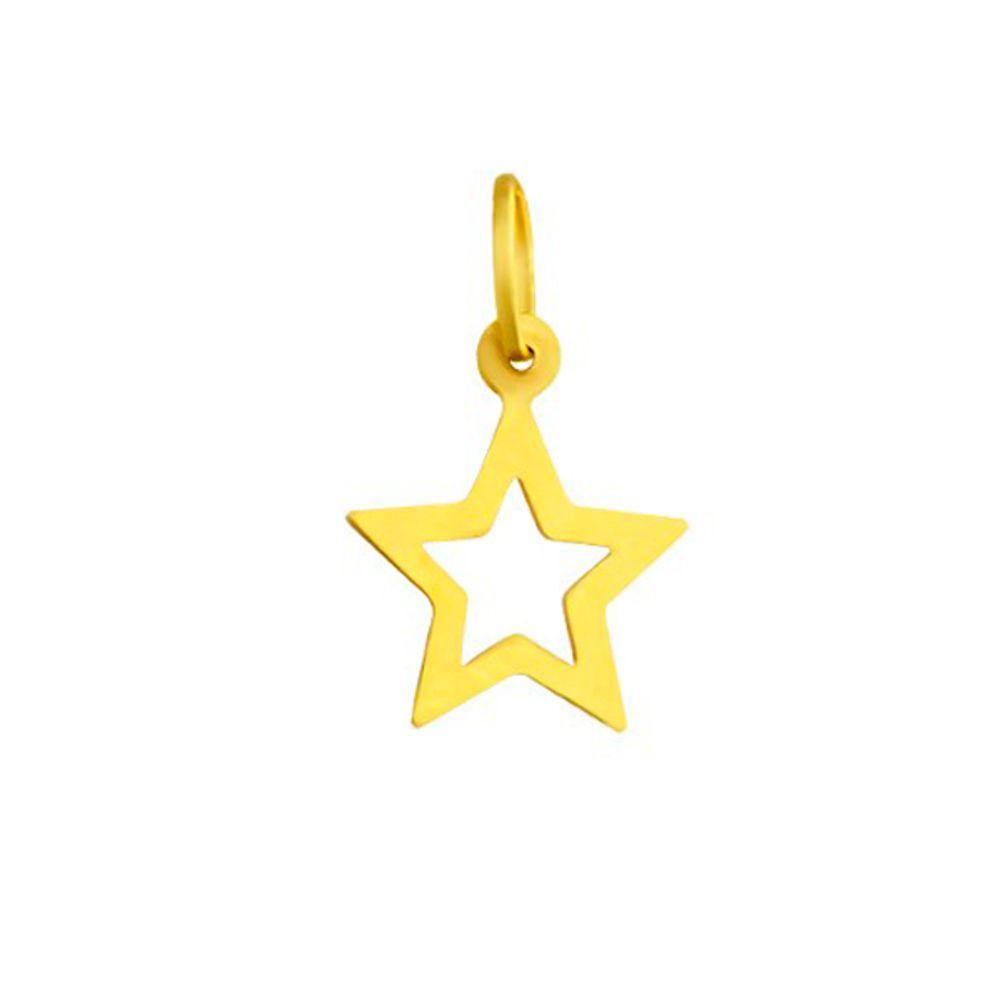Pingente em Ouro 18k Estrela Vazada pi17451 - joiasgold e8ff7fce5e