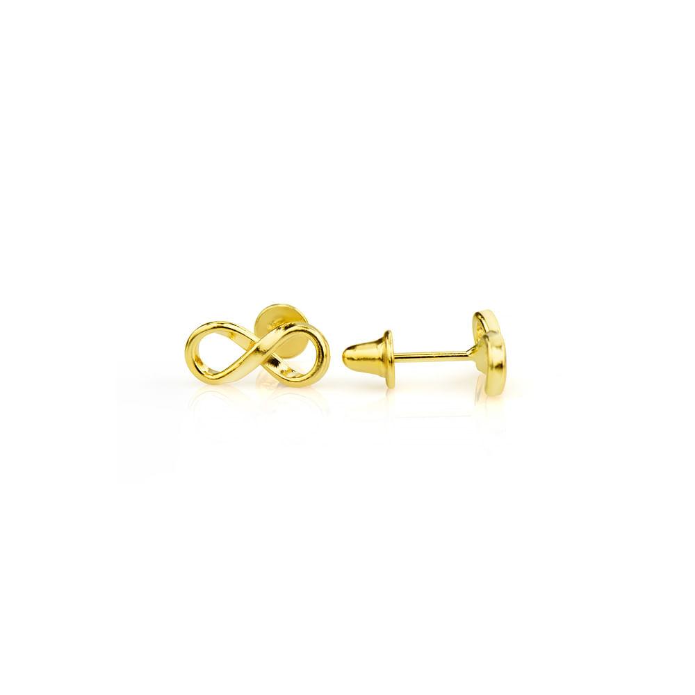 Brinco em Ouro 18k Símbolo do Infinito br21374 - joiasgold a0ac21dd37