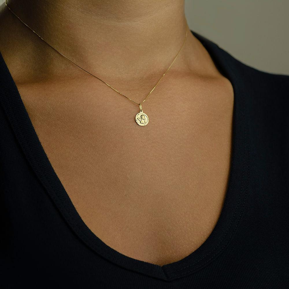 5d610a2122628 Pingente em Ouro 18k Medalha Anjo da Guarda - joiasgold