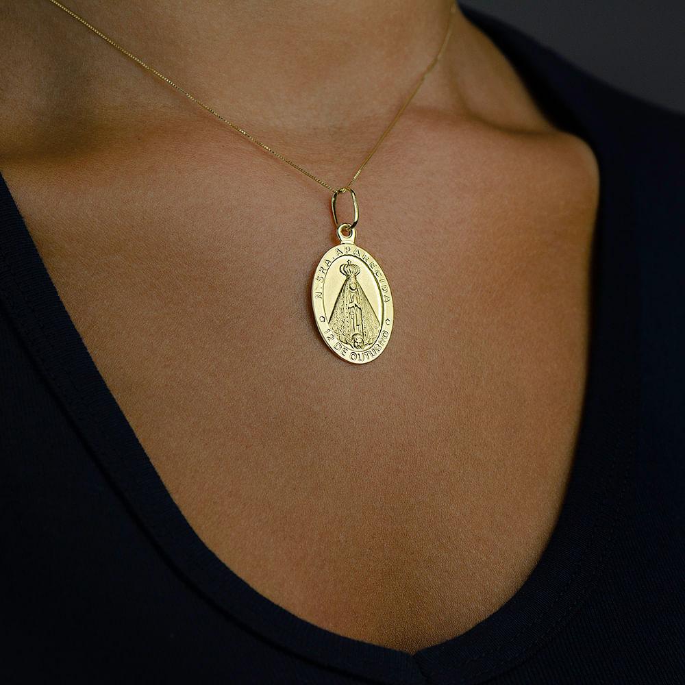 Pingente de Ouro 18k Medalha de Nossa Senhora Aparecida Grande ... bb3fff756a
