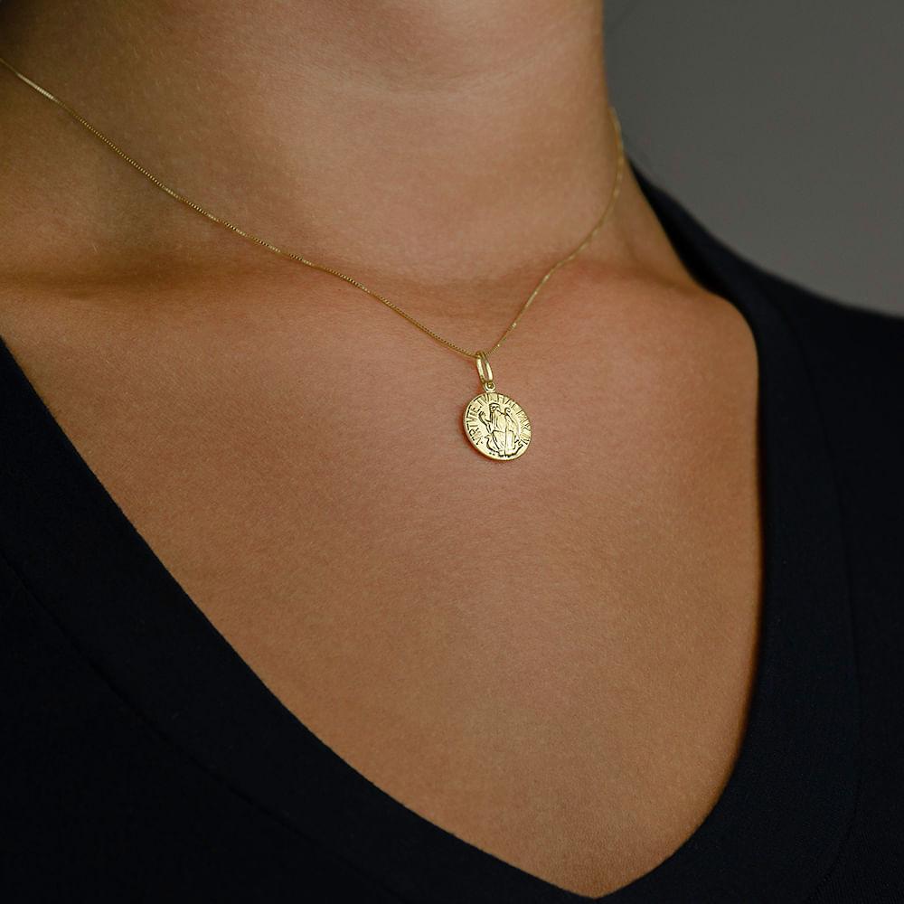 8d50dffecc6f2 Pingente de Ouro 18k com Medalha de São Bento - joiasgold