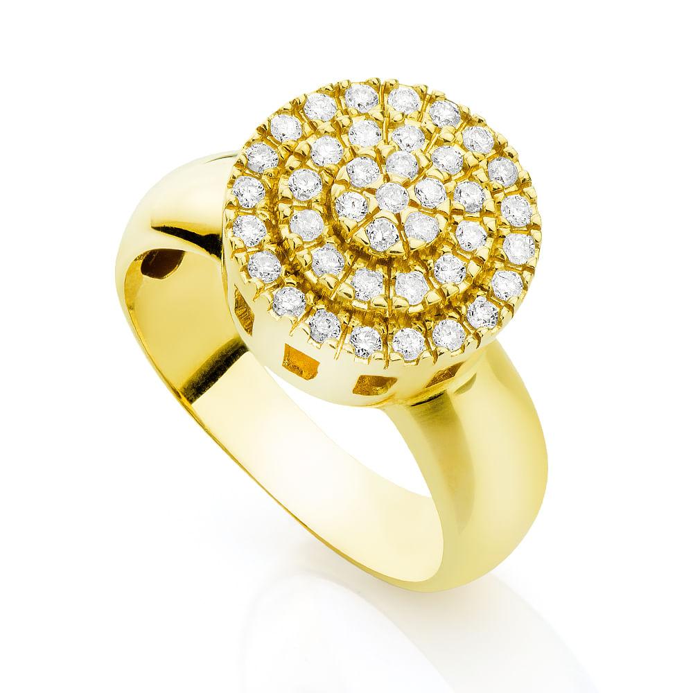 2ef20d01000 Anel em Ouro 18k Chuveiro Redondo com Diamantes an30562 - joiasgold