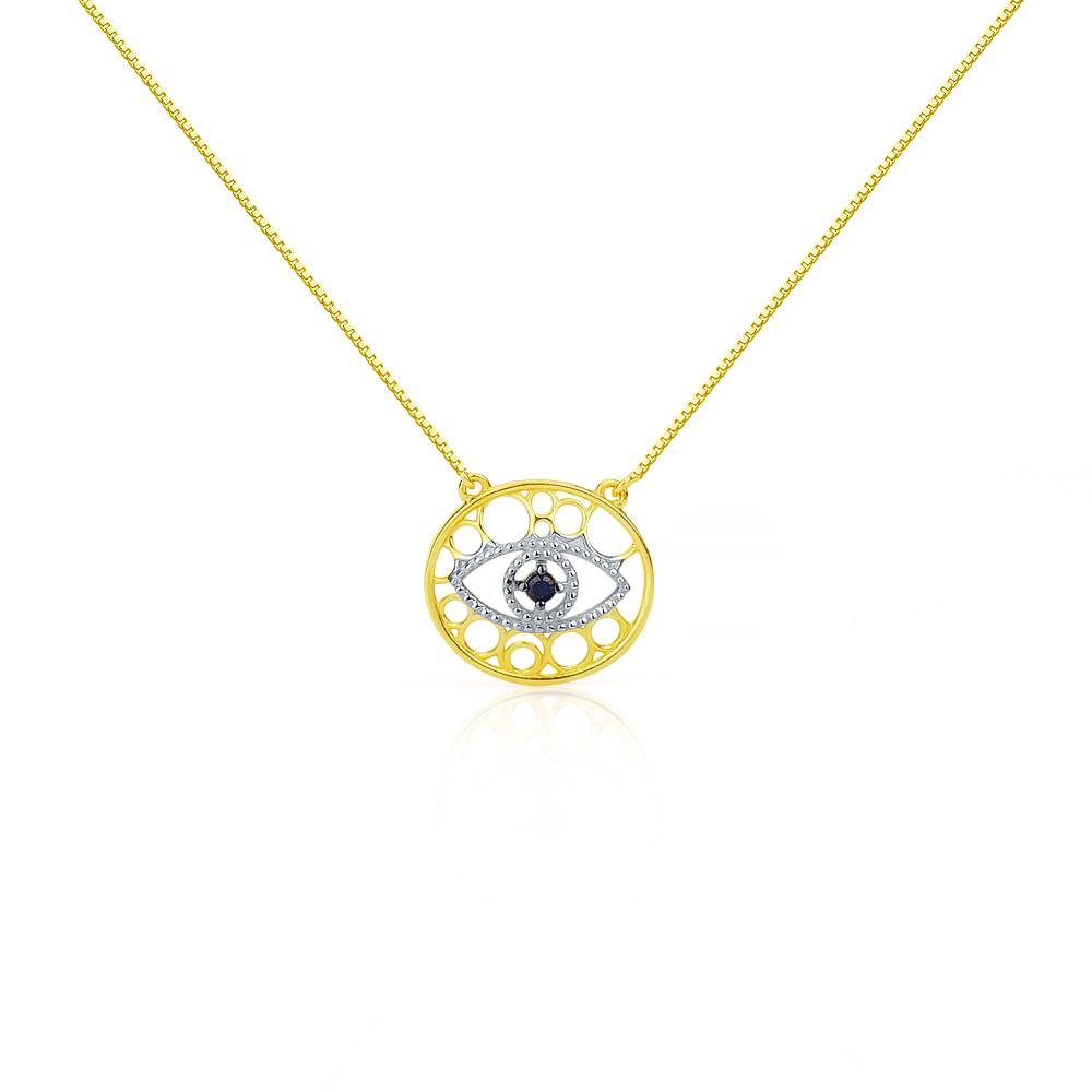 01a1b146af47f Gargantilha em Ouro 18k Olho Grego com Safira ga02931 - joiasgold