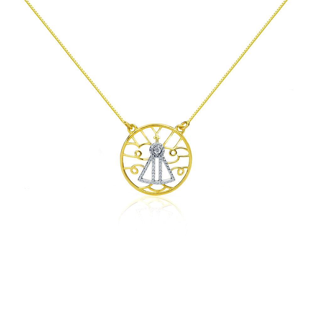 5326092da7f8f Gargantilha em Ouro 18k Nossa Senhora Aparecida ga02932 - joiasgold