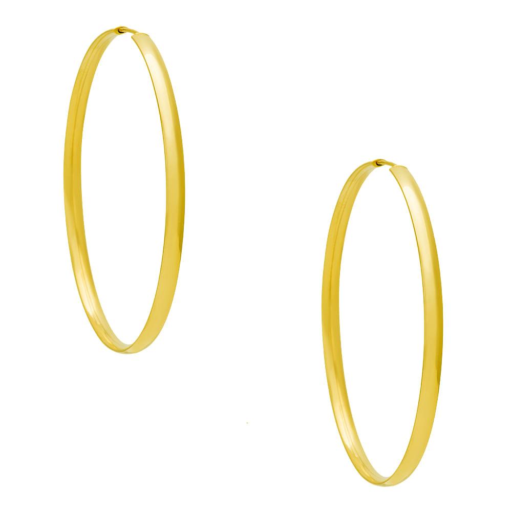a36226523467b Brinco em Ouro 18k Argola Redonda Anatômica Maior br21391 - joiasgold