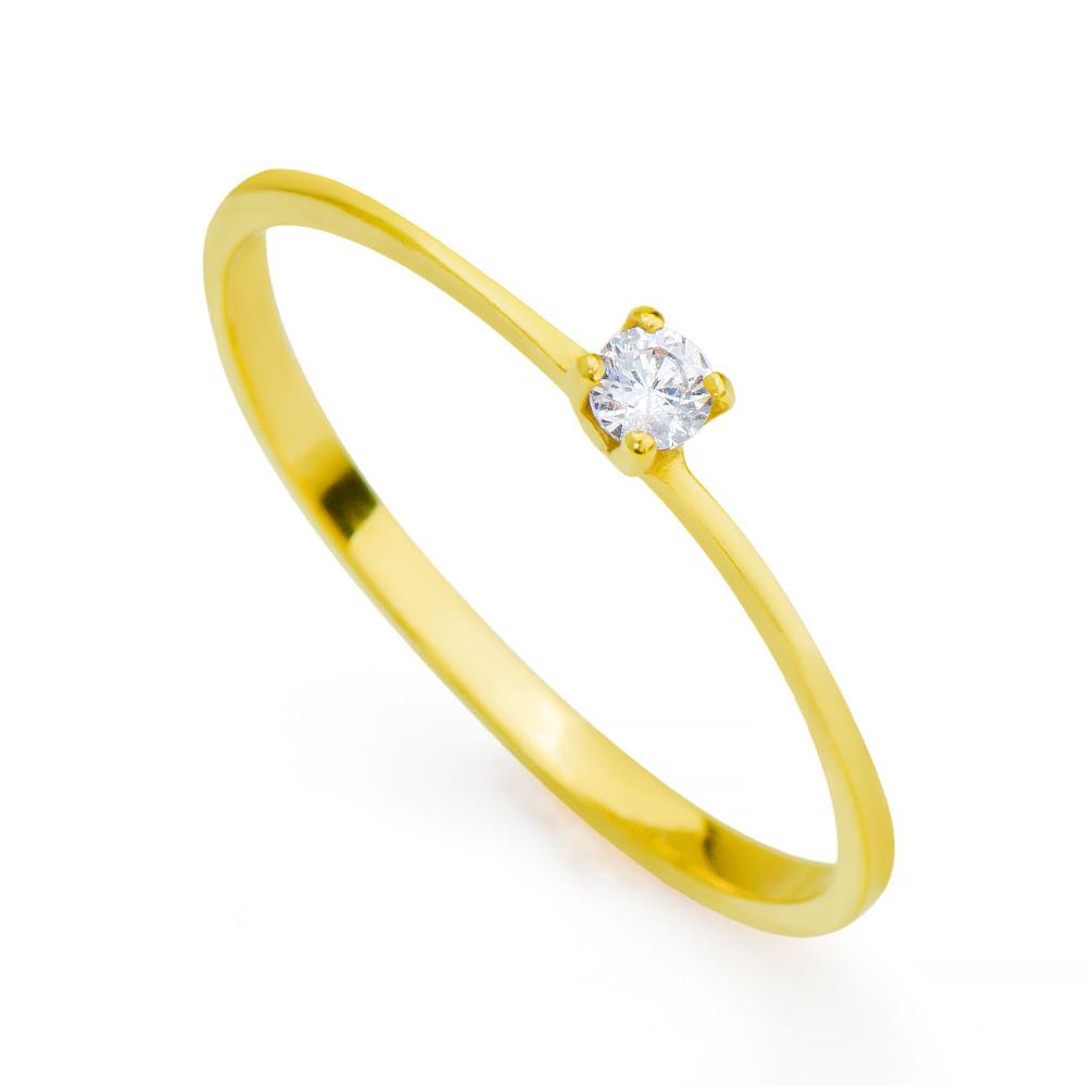 b7b7d6ebe9ae5 Anel em Ouro 18k Solitário com Diamante de 15 pontos an32281 - joiasgold