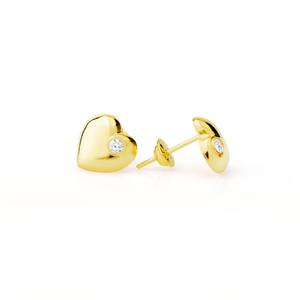 Brinco em Ouro 18k Coração Liso com Zircônia br08904 - joiasgold a97788091e
