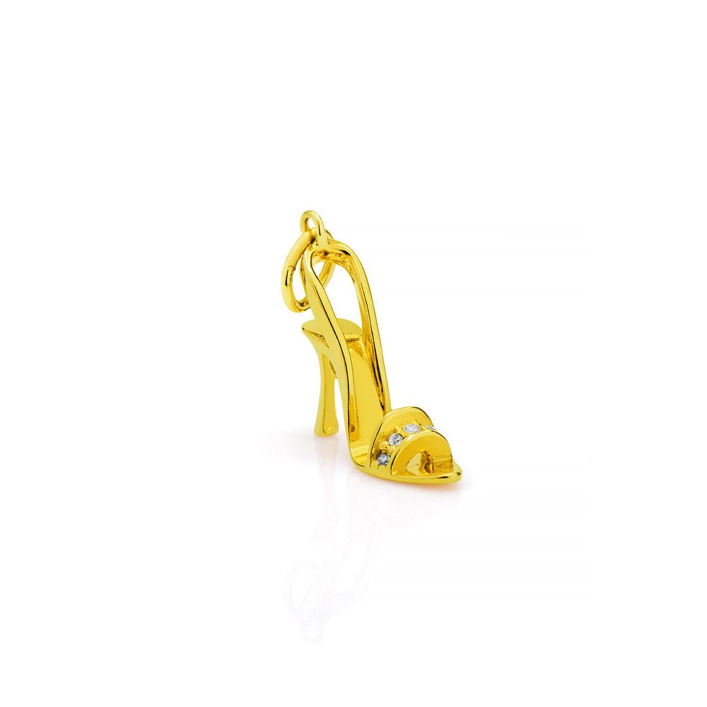 c427341651 Pingente em Ouro 18k Sapato Salto Alto com Zircônia pi17393 - joiasgold