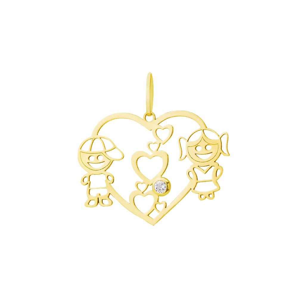 Pingente em Ouro 18k Coração Menino e Menina com Zircônia pi17755 ... 48b4f0a211