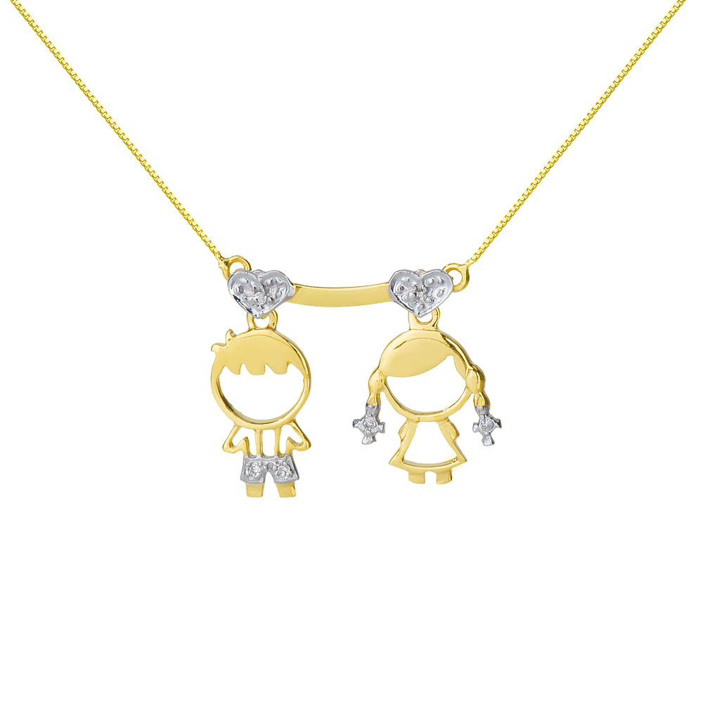 Gargantilha em Ouro 18k Menino e Menina com Diamantes ga02414 ... be83e01830