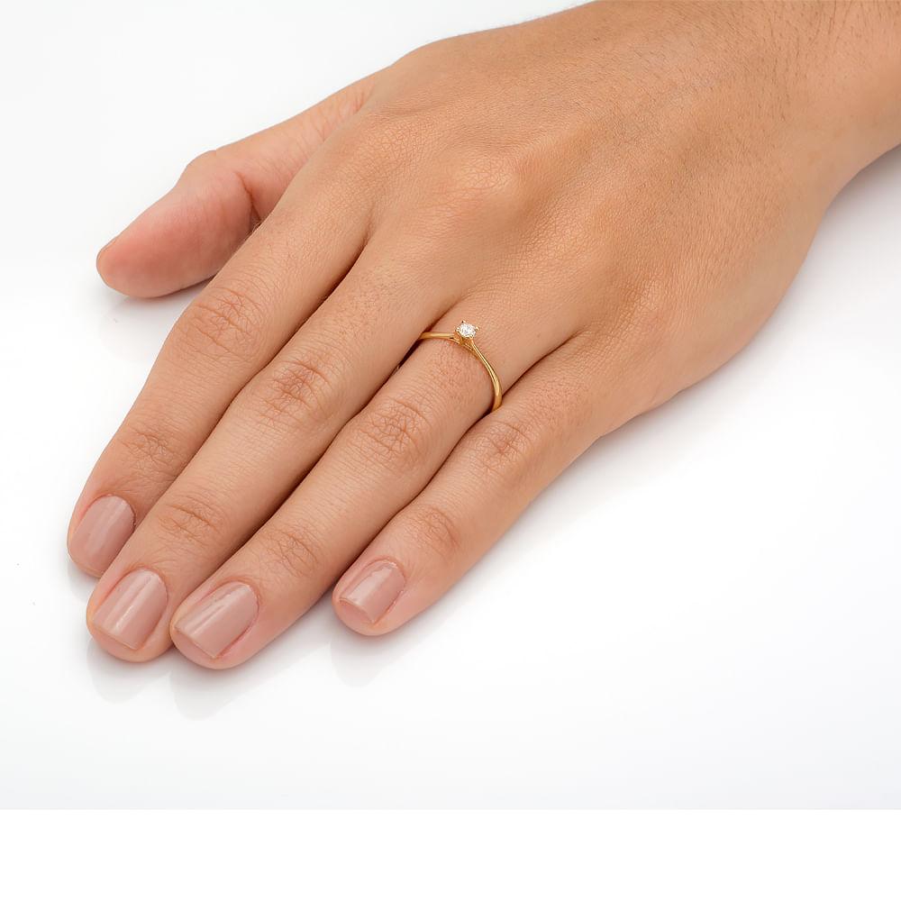 Anel em Ouro 18k Solitário com Diamante de 15 pontos an32281 - joiasgold f8b0a8e62b
