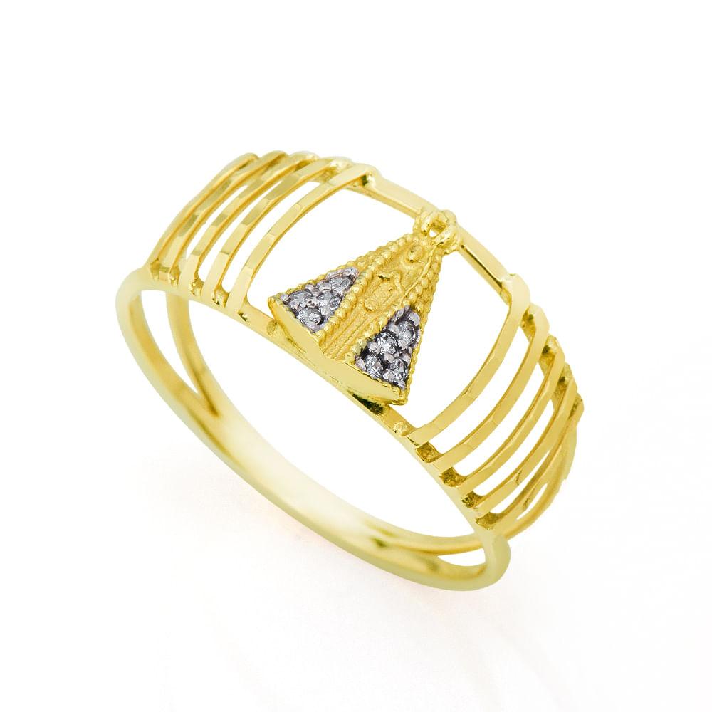 4a77b7a9fc1fa Anel em Ouro 18k N. Senhora Aparecida com Zircônia an31545 - joiasgold