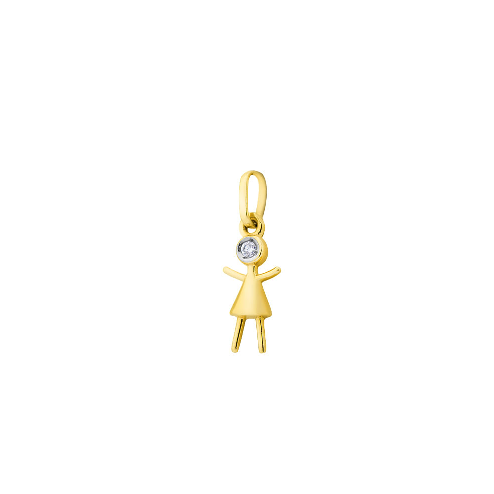 pingente ouro 18k boneca diamante pi17437 - joiasgold ee1b8be3ad