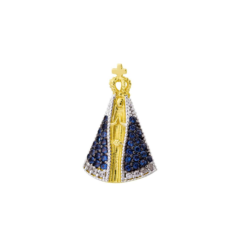 Pingente em Ouro 18k Nossa Senhora Aparecida com Zircônias PI17559 ... 993d6e665d