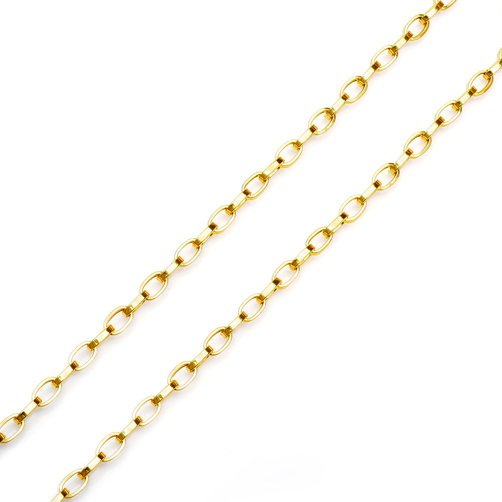 bc6eedc6bac Corrente em Ouro 18k Cartier Oval 60cm co01841 - joiasgold
