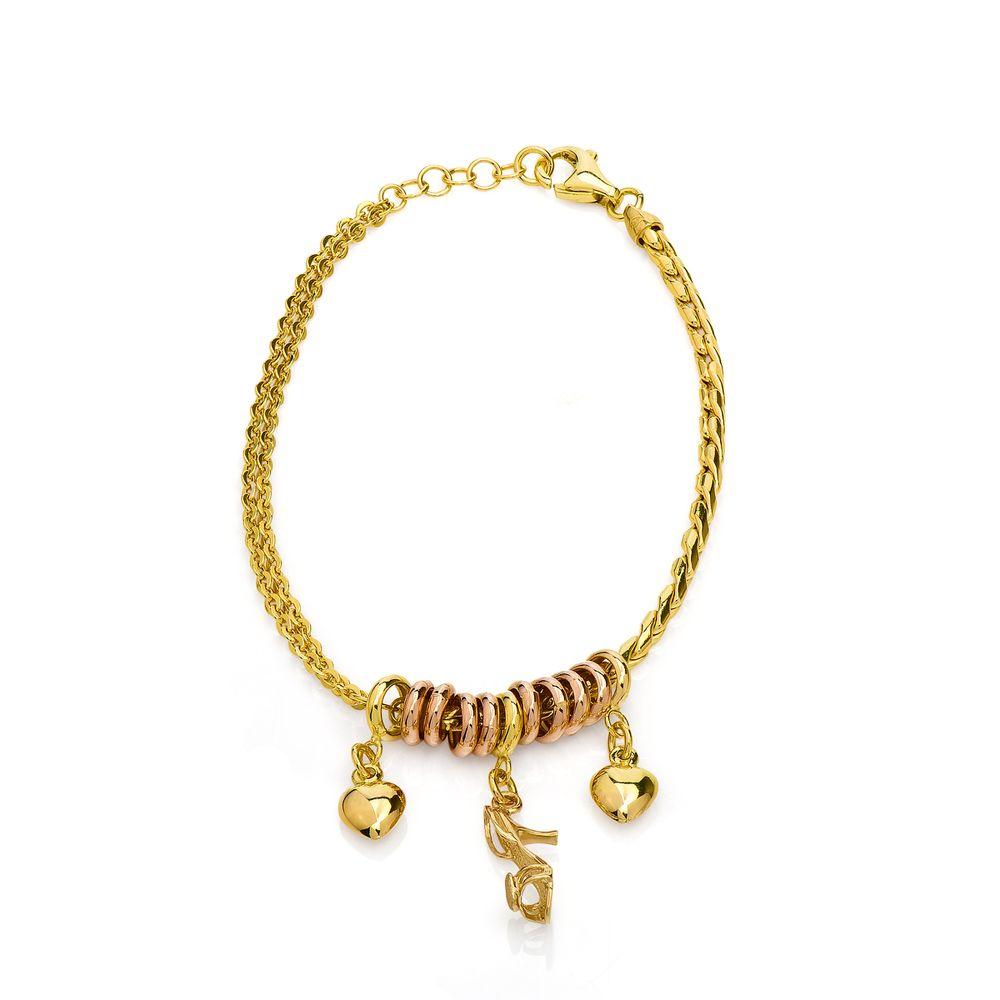 e1d411efaa0 Pulseira em Ouro Bicolor 18k Berloques com 19cm pu03803 - joiasgold