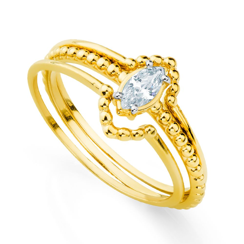 ebba77b279f Anel em Ouro 18k 3 Aros Zircônia Modelo Navete an33296 - joiasgold