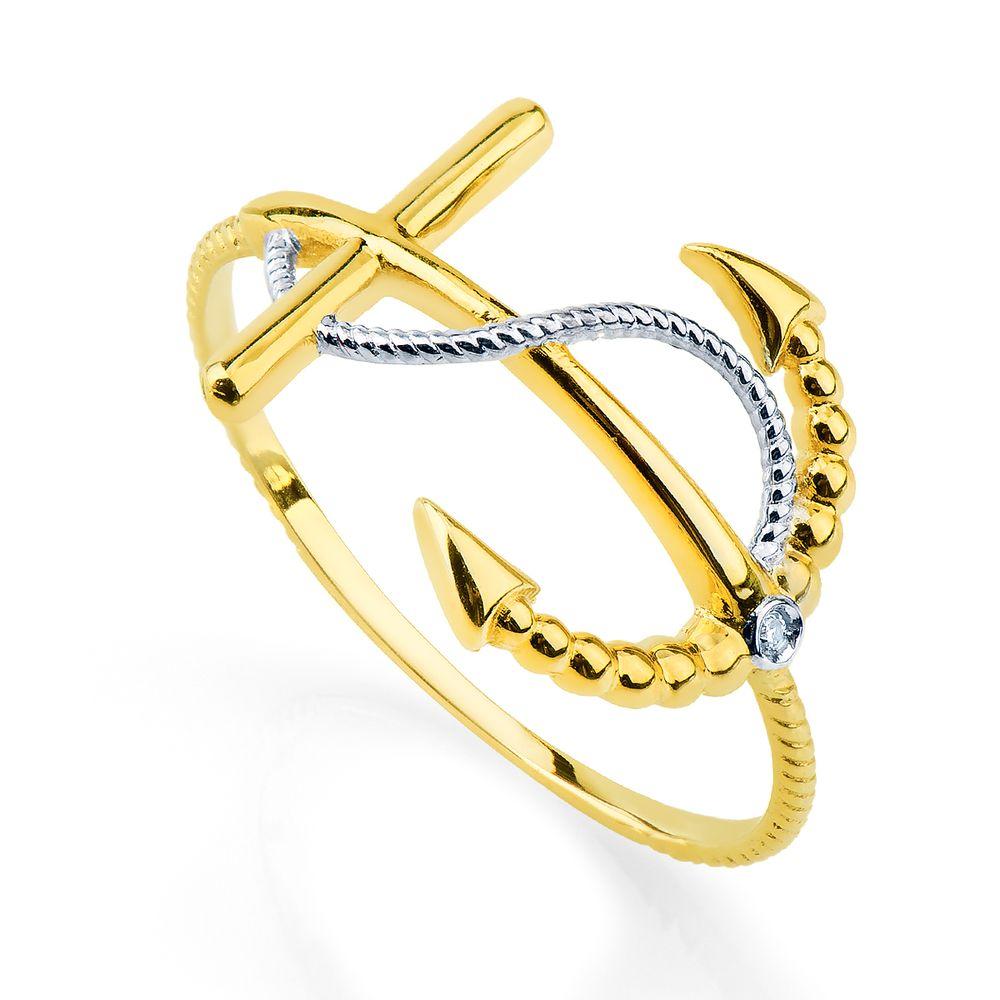 c2b7a5aaca4c2 Anel em Ouro 18k Âncora com Diamante an33345 - joiasgold