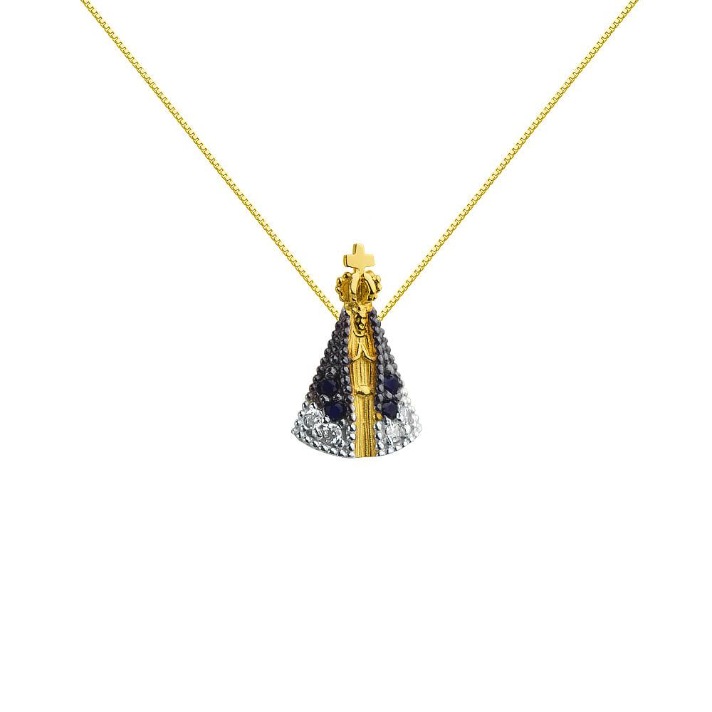 a5655bd15128a Pingente em Ouro 18K Nossa Senhora Aparecida PI17720 - joiasgold