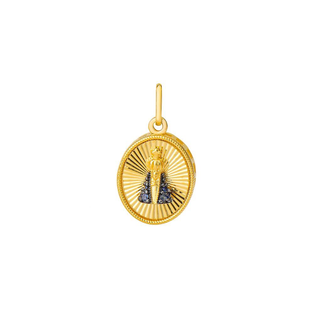 e62c37e8d42f0 Pingente em Ouro 18k Nossa Sra Aparecida com Safira pi18406 - joiasgold