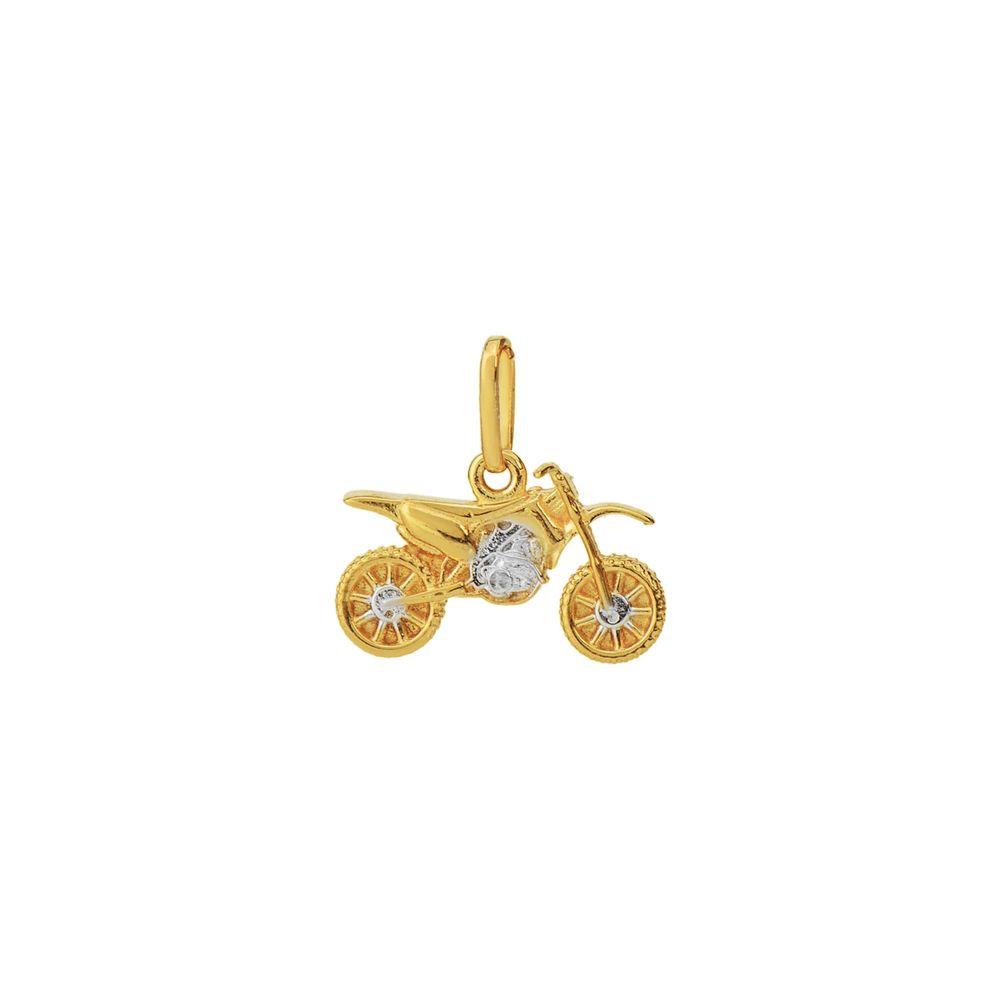 9aaaa8ad44a Pingente em Ouro 18k Motocicleta com Detalhe Rodinado pi18370 ...