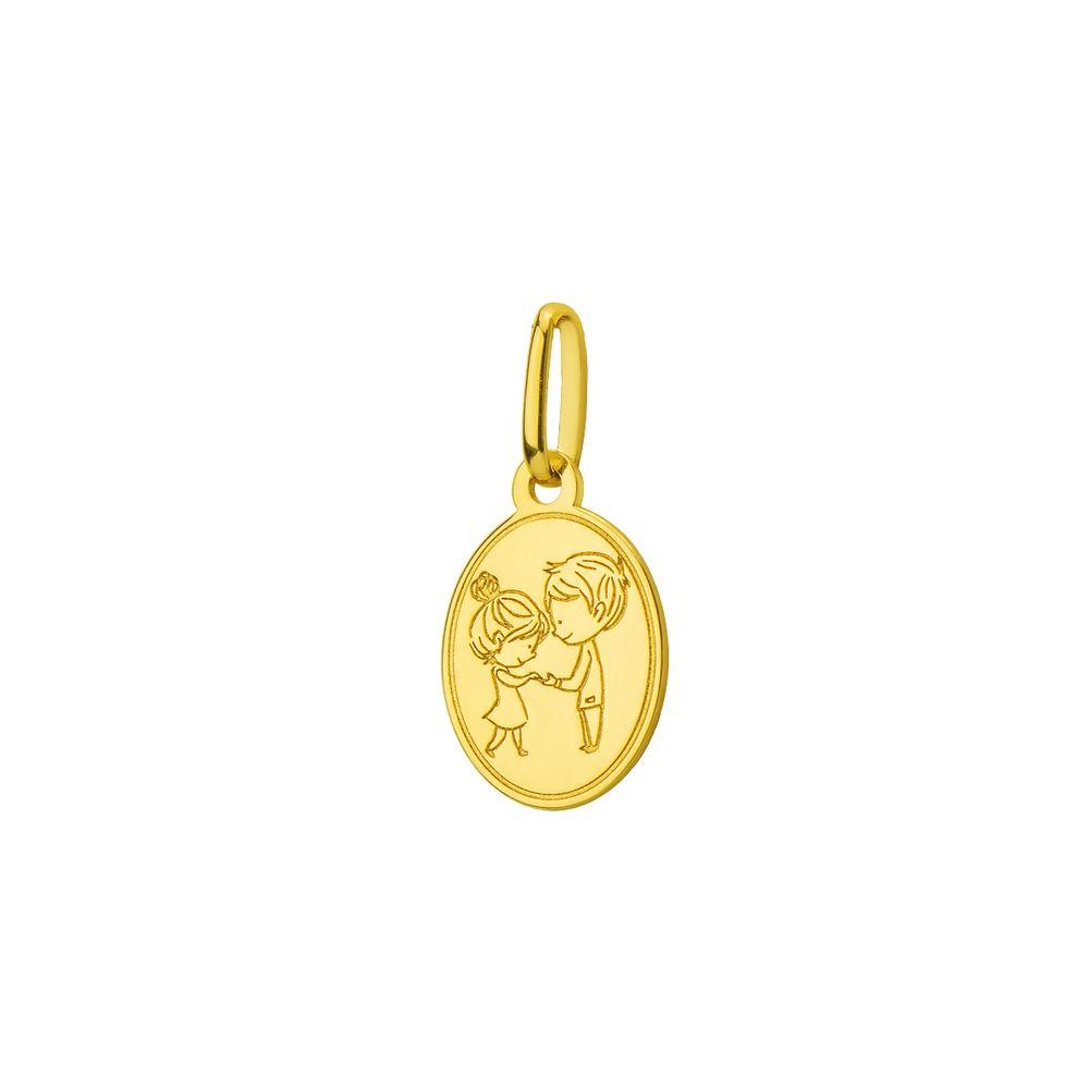 Pingente em Ouro 18k Placa Casal Mãos Dadas pi18432 - joiasgold 6f65dbdd3b