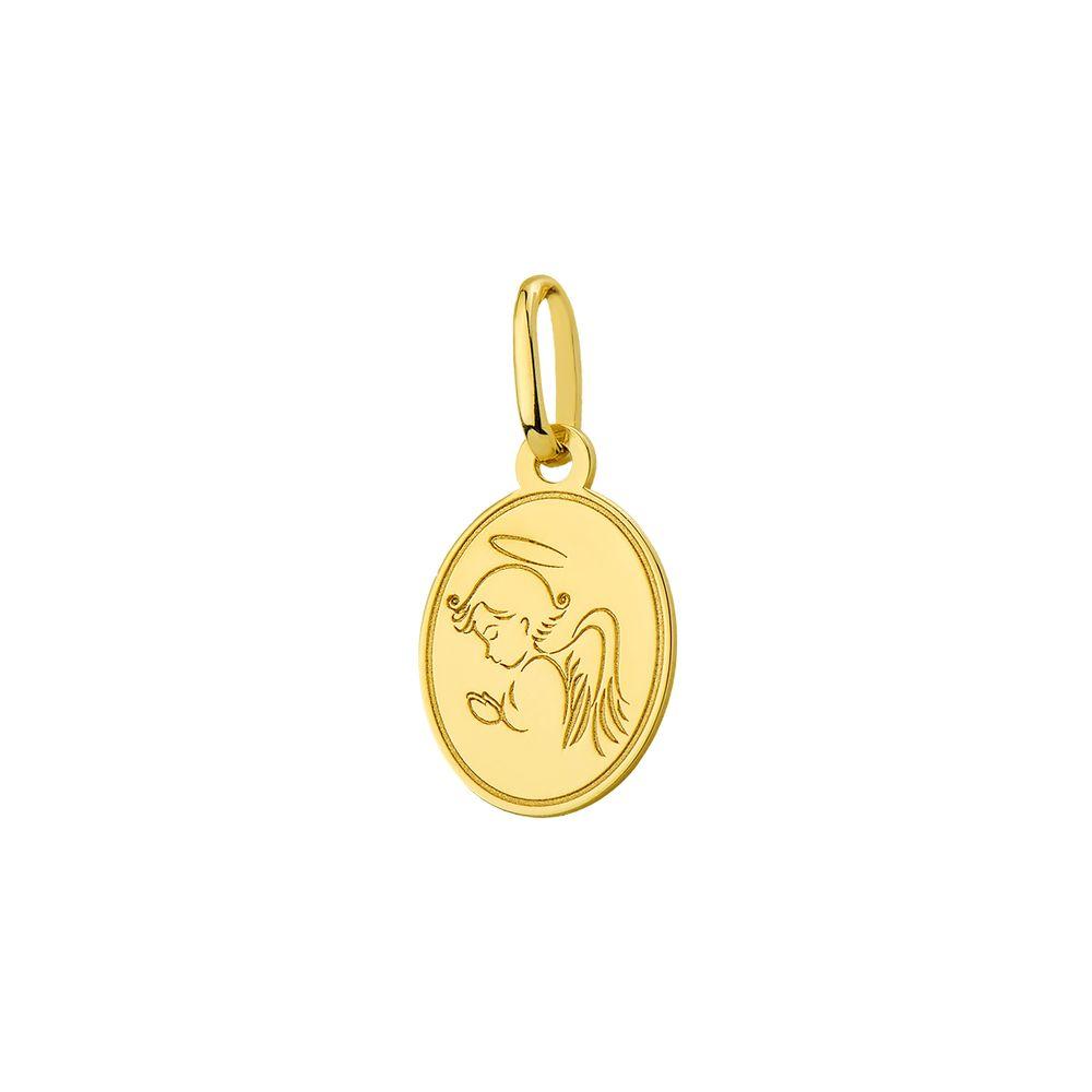 bac703db2e81c Pingente em ouro 18k Medalha Anjinho Rezando pi18413 - joiasgold