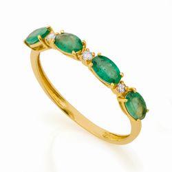 Anel de Ouro 18k Meia Aliança Esmeraldas e Diamantes an32268