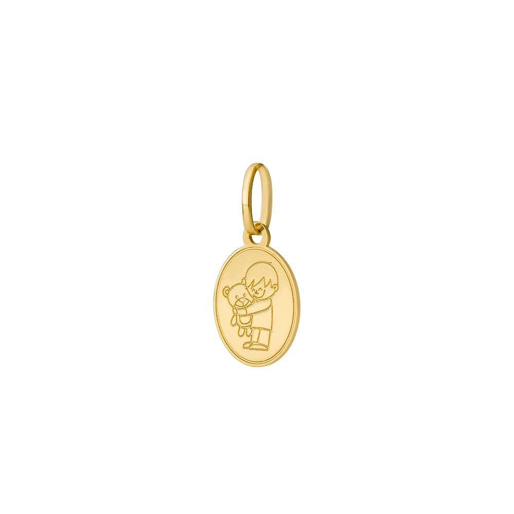 d04c374fa499b Pingente em Ouro 18k Placa Menino com Urso pi18418 - joiasgold