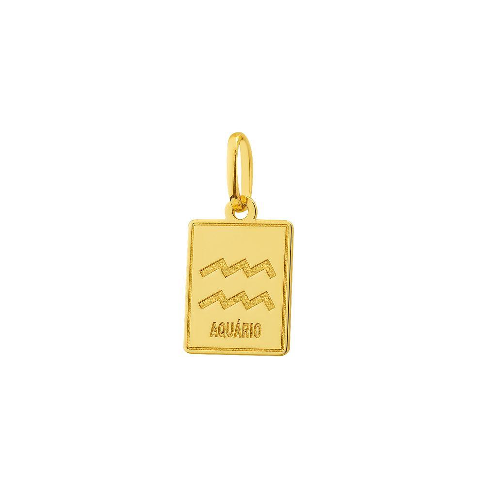 Pingente em Ouro 18k Placa Símbolo Signo Aquário pi18520 - joiasgold 62ed86d055