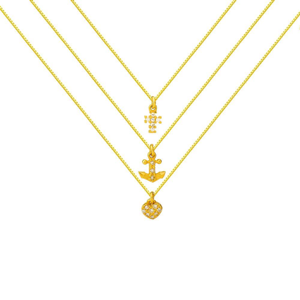 gargantilha-de-ouro-18k-cruz-coracao-e-ancora- 94be2ef201c59