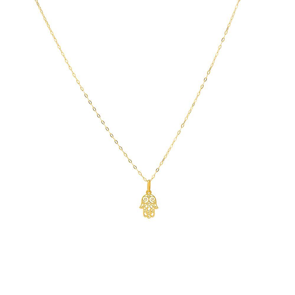 beae74b898bab Gargantilha em Ouro 18k Mão de Hamsa com 45cm ga03361 - joiasgold