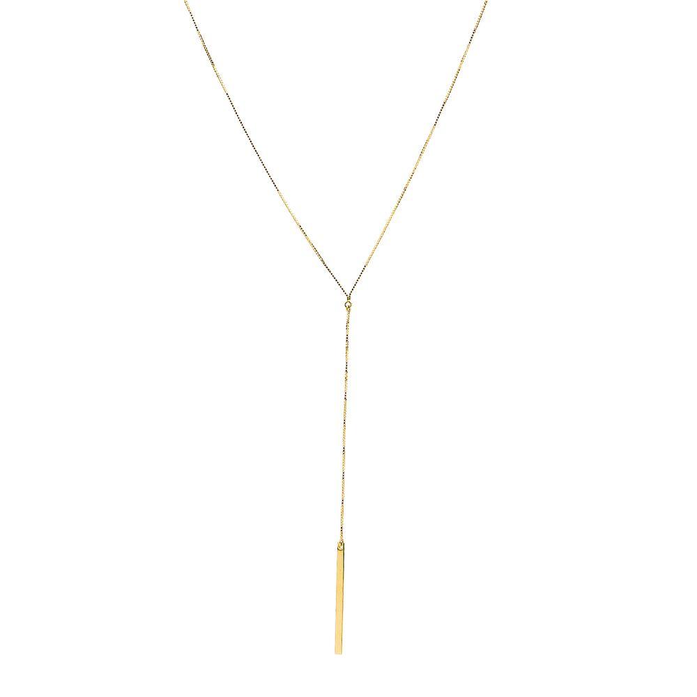 Gargantilha em Ouro 18k Modelo Gravata com 46cm ga03289 - joiasgold eecddf32dd