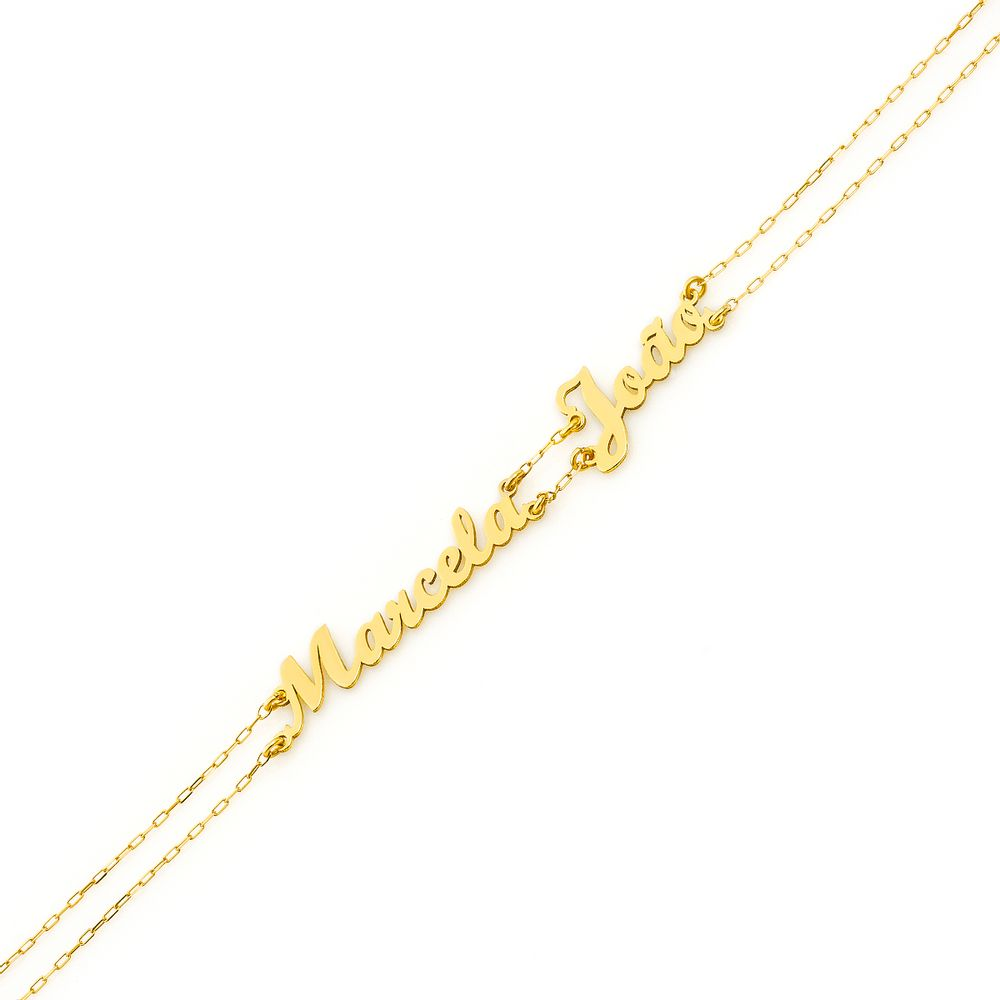 Pulseira em Ouro 18k Nome Até 11 Letras com 17cm pu04003 - joiasgold d82b609f70