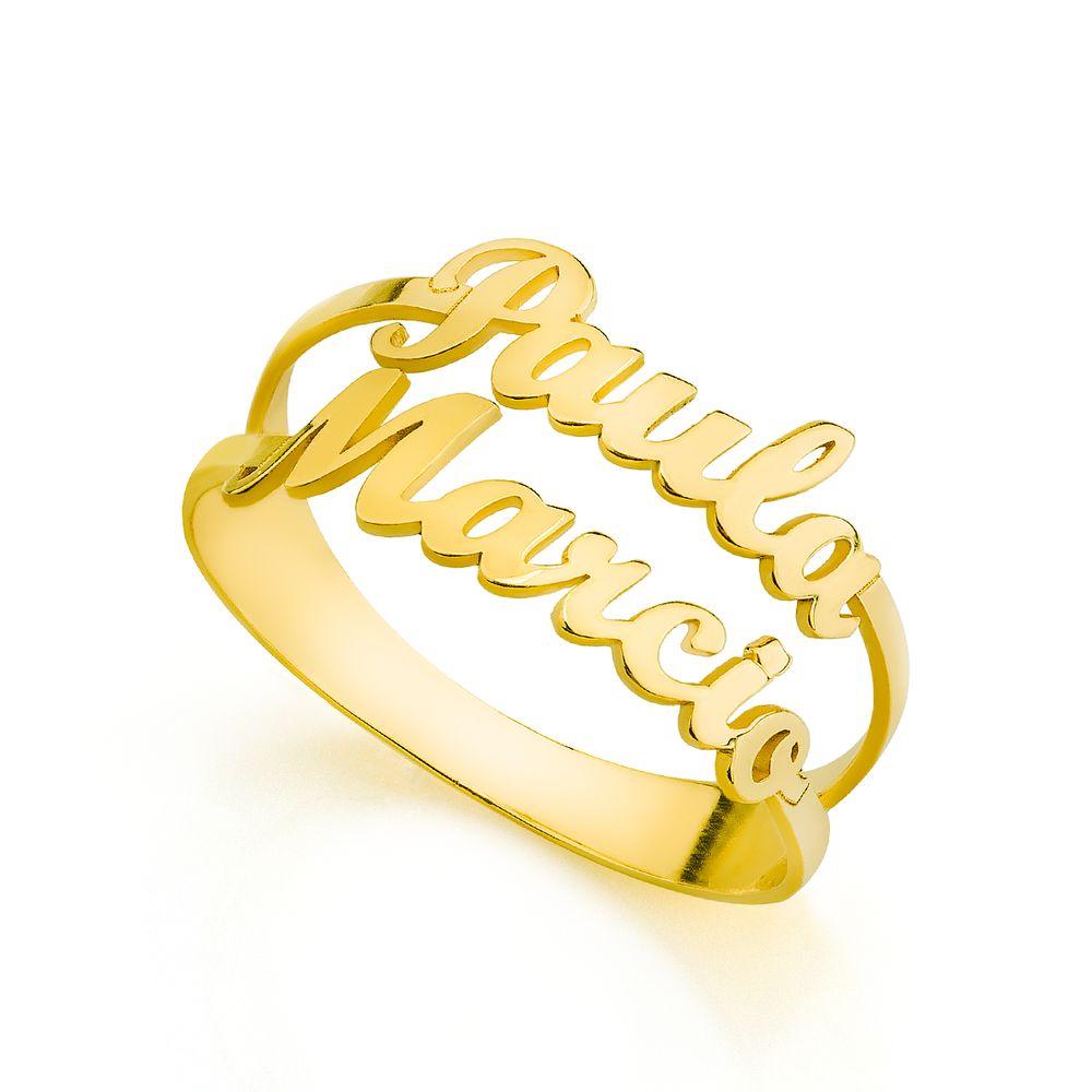 Anel em Ouro 18k Aros com Nome Até 11 Letras an33685 - joiasgold ed9133bfbe