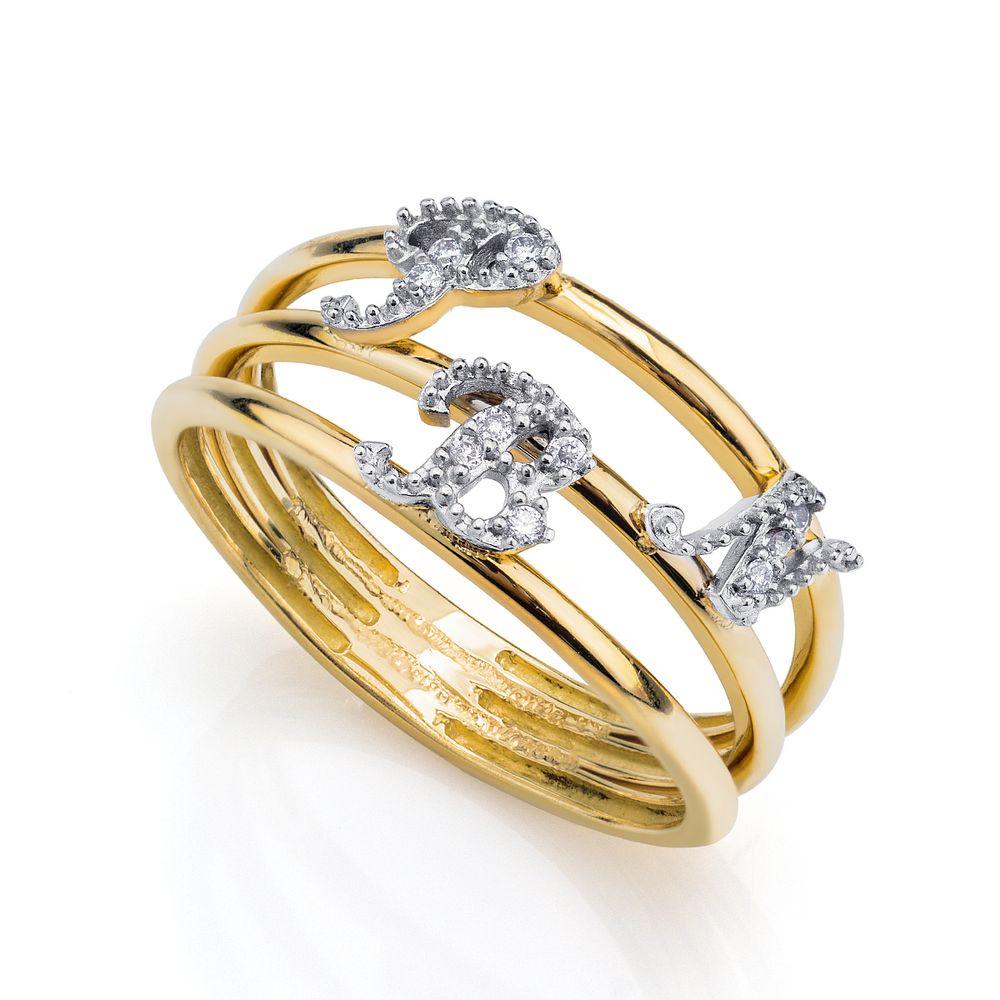 bae16bf3eff99 Anel em Ouro 18k 3 Letras com Diamantes an33687 - joiasgold