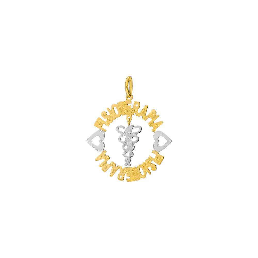 68e6c87603620 Pingente em Ouro 18k Mandala Formatura Nome Fisioterapia pi18601 ...