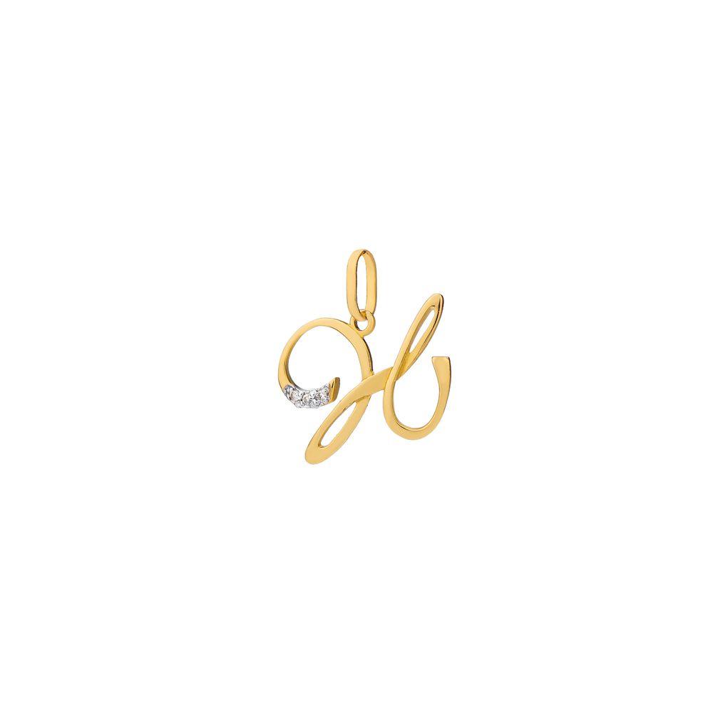 f29749df0a46f Pingente em Ouro 18k Letra H com Diamantes pi17696 - joiasgold