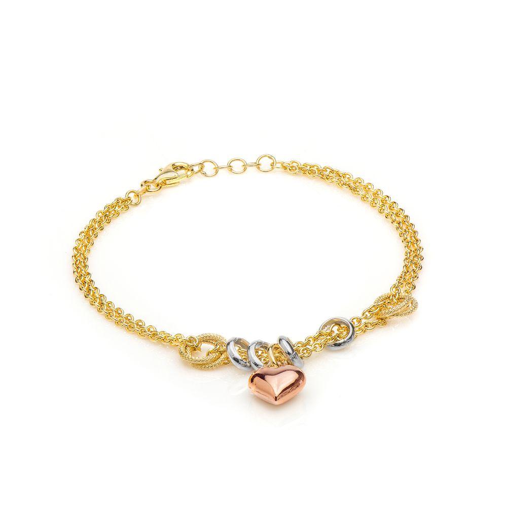 Pulseira em Ouro 18k Coração em Ouro Rosê com 19cm pu04035 - joiasgold 347afccefc