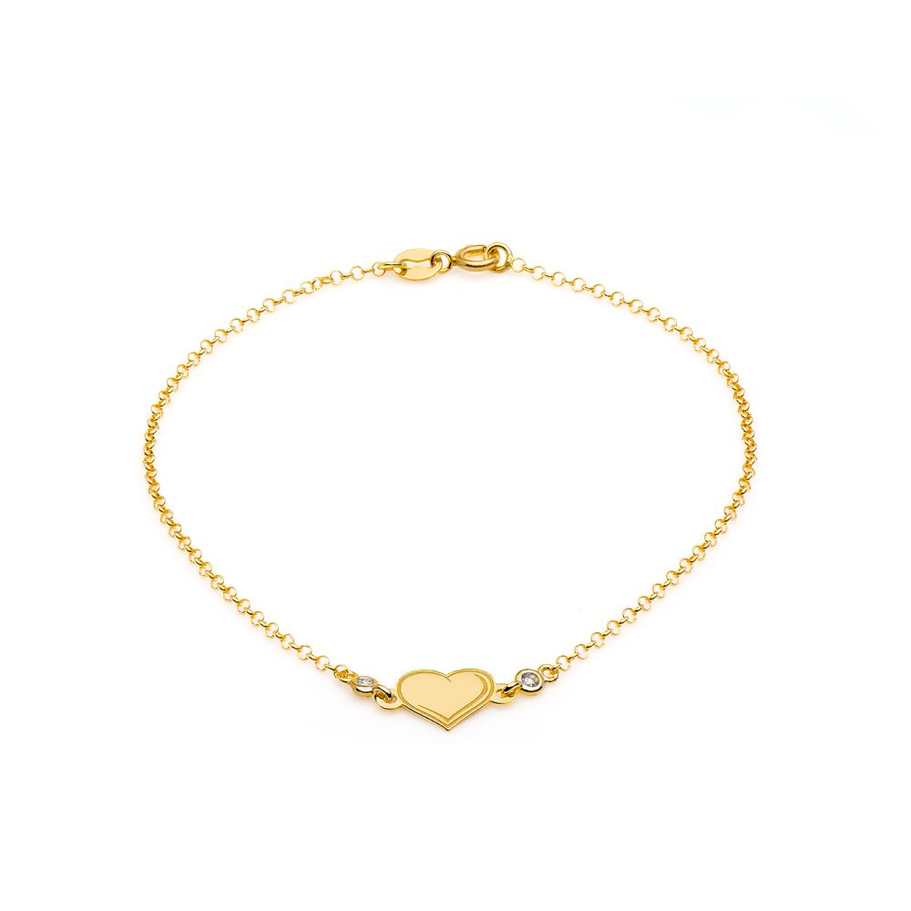cb1308bac27 Pulseira em Ouro 18k Coração com Diamantes de 18cm pu04046 - joiasgold