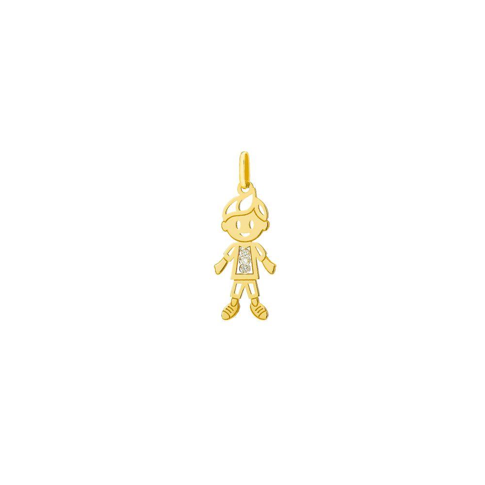 5613285d2134b Pingente em Ouro 18k Menino Vazado com Diamantes pi18637 - joiasgold