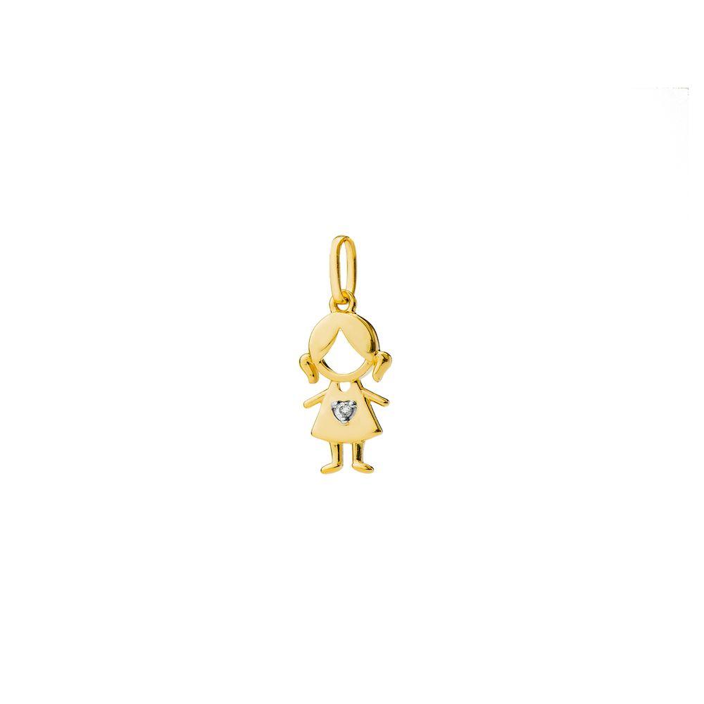 Pingente em Ouro 18k Menina com Diamante pi18627 - joiasgold 1f3cf62559