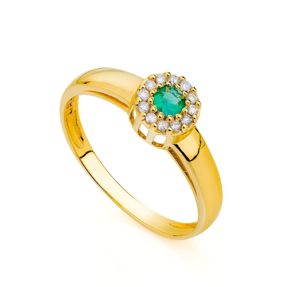 3ca6ca61216f2 Anel de Formatura em Ouro 18k Esmeralda com Diamantes an04921 ...