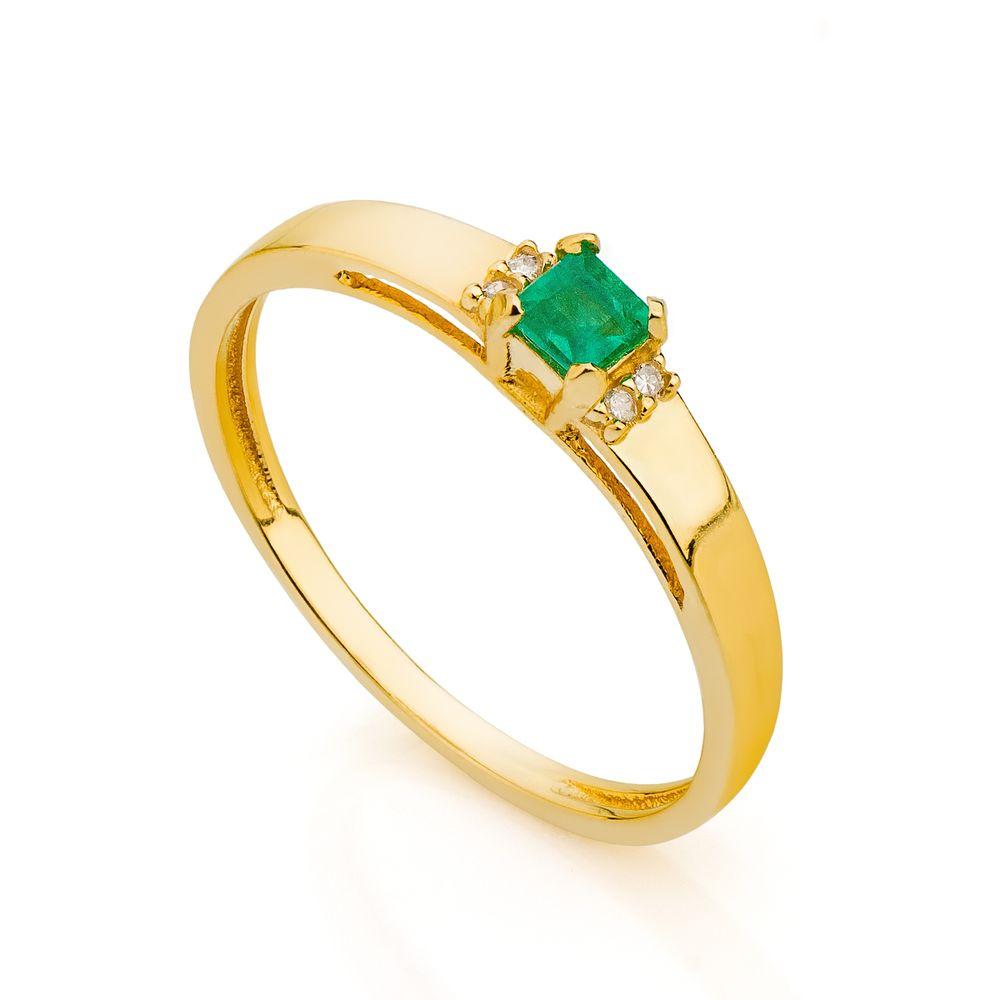 0f99496a07d6d Anel de Formatura em Ouro 18k Esmeralda com Diamantes an33811 ...