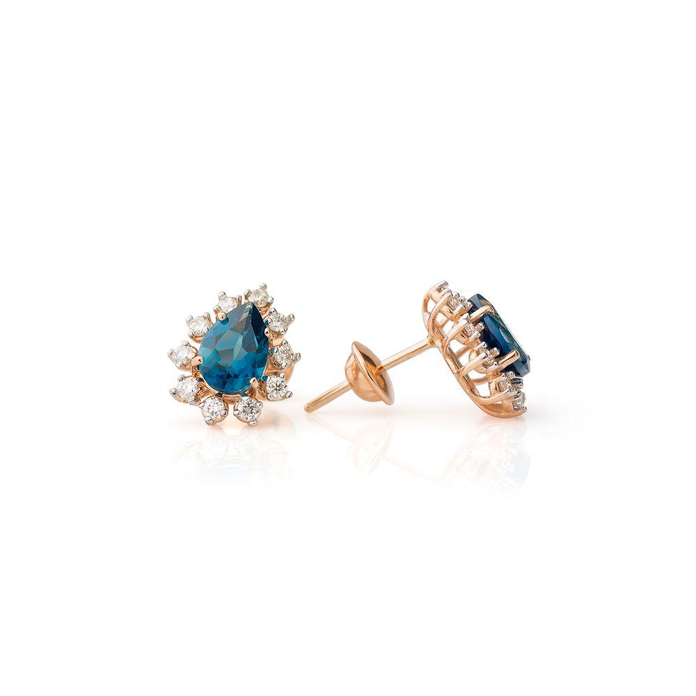4aaf842b288 Brinco em Ouro Rosê 18k Gota Topázio London com Diamantes br22019 ...