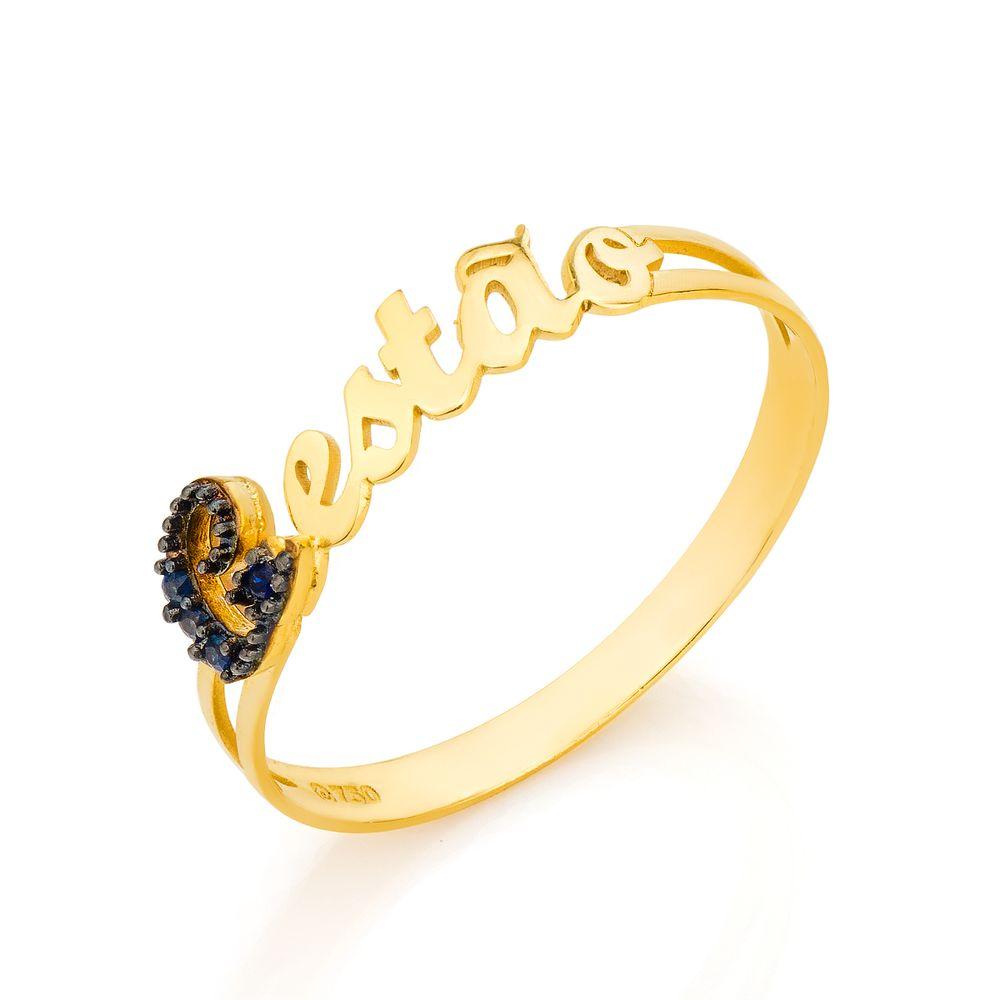 Anel de Formatura em Ouro 18K Gestão com Safira an33758 - joiasgold ba0e0743e5